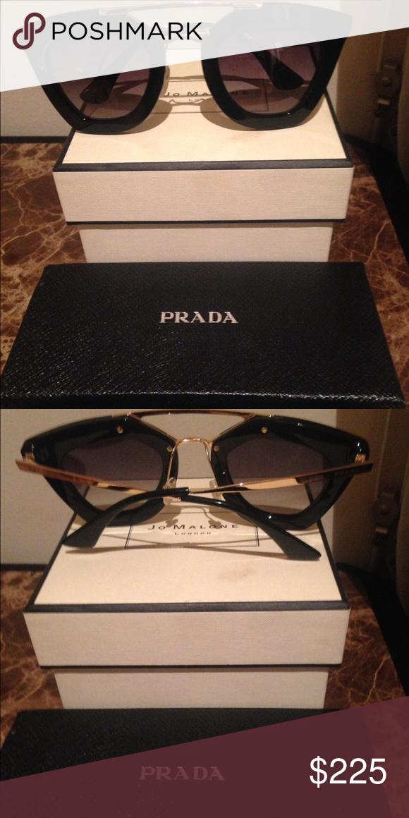 8bb6619835d47 Prada Cinema SPR 09QS Black Sunglasses Worn once. No scratches. Box