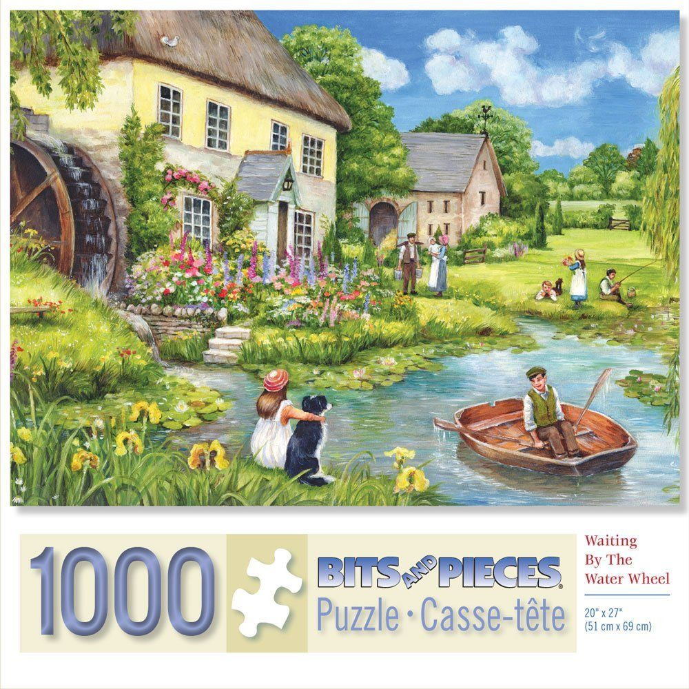 Amazon Com Bits And Pieces Waiting By The Water Wheel 1000 Piece Jigsaw Puzzle By Artist Debbie Cook Toys Ga Painting Scenery Lake Painting Scenery Art