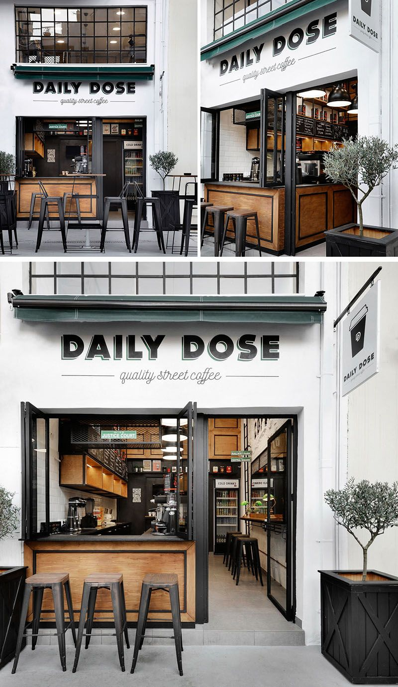 Andreas Petropoulos has recently completed the design of Daily Dose, a small takeaway coffee bar in the city of Kalamata, Greece, that features a white, black and wood interior.