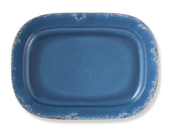 Rustic Melamine Dinner Plates, Set of 4, Azure Blue | ceramics ...