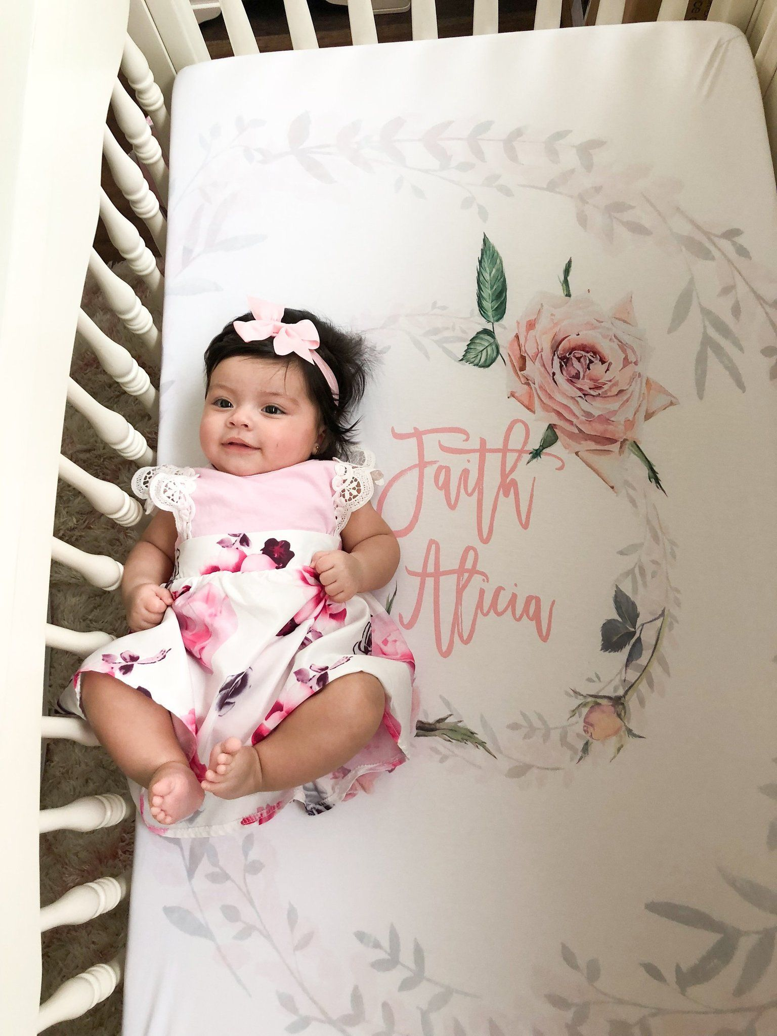 Photo of Custom crib sheet for baby girl – Vintage Roses collection