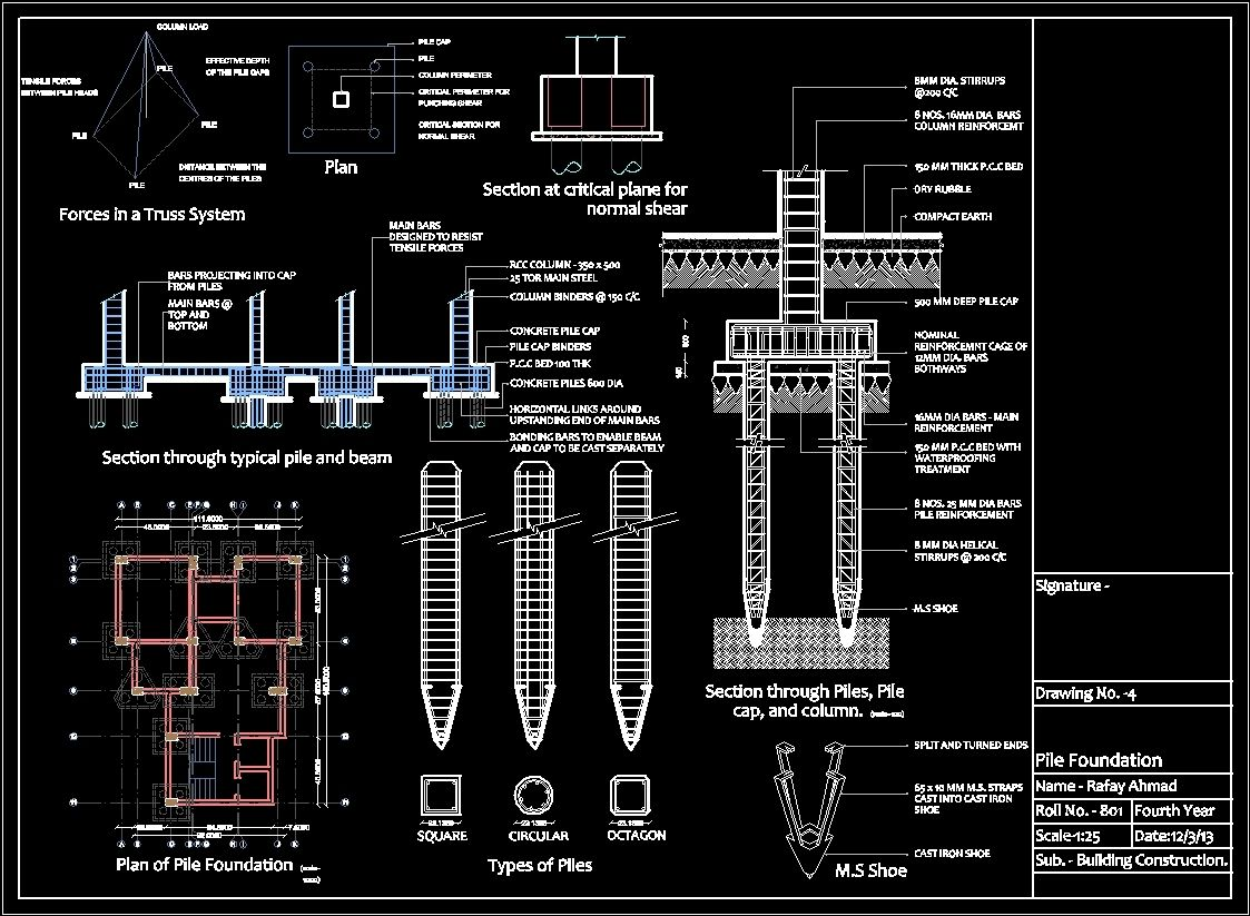 Pile Foundation Drawing : Pile foundation system with reinforcement details