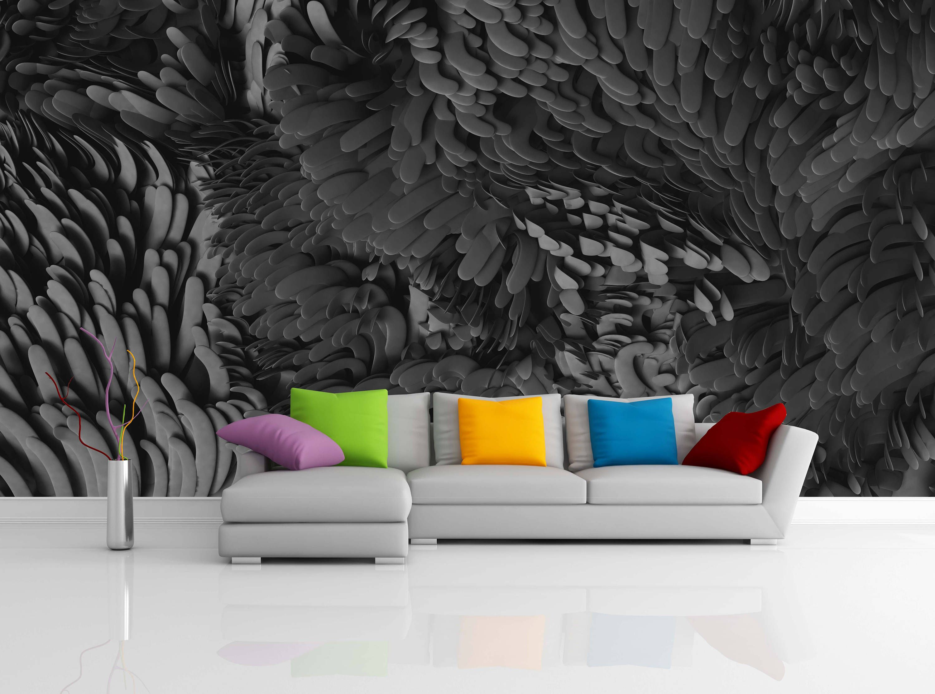 Removable Wallpaper Mural Peel & Stick Abstract 3D Wavy