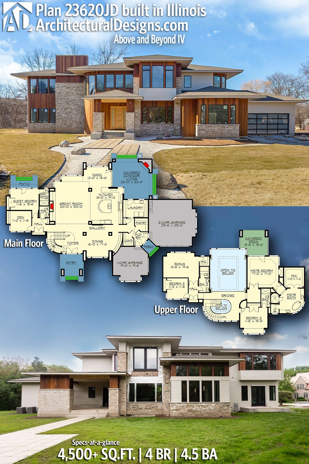 Plan 23620jd Above And Beyond Iv Modern House Plans House Plans Dream House Plans