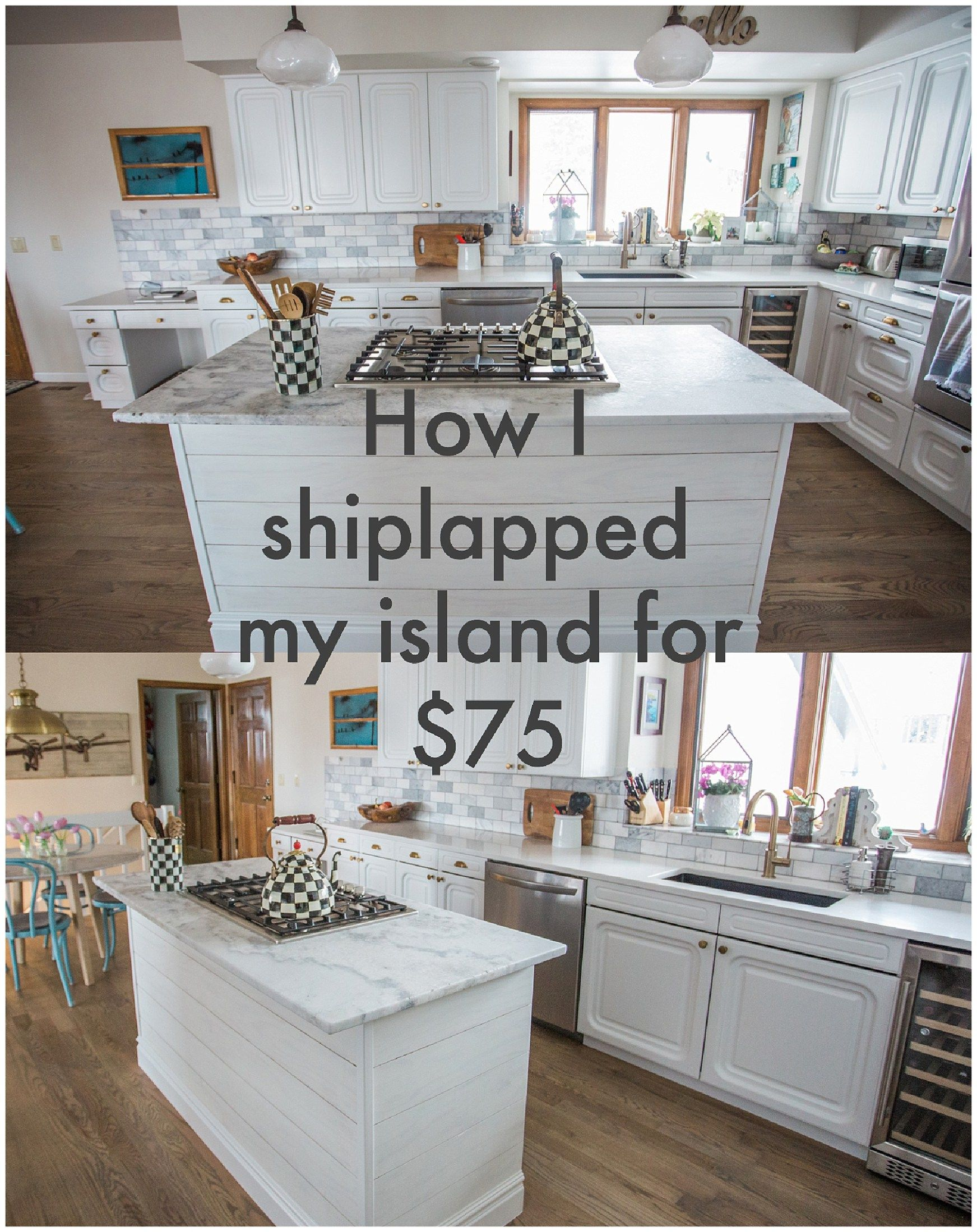 How I installed shiplap on my island for under $75 ...