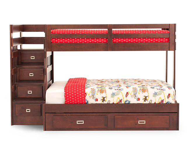 Campus Twin Over Full Stair Bunk Bed With Storage Trundle