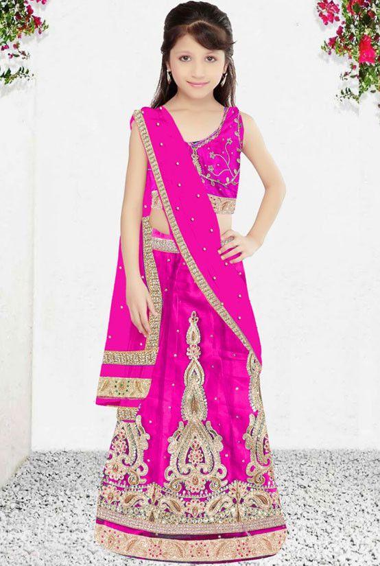 Rani Pink Girl's Lehenga Choli