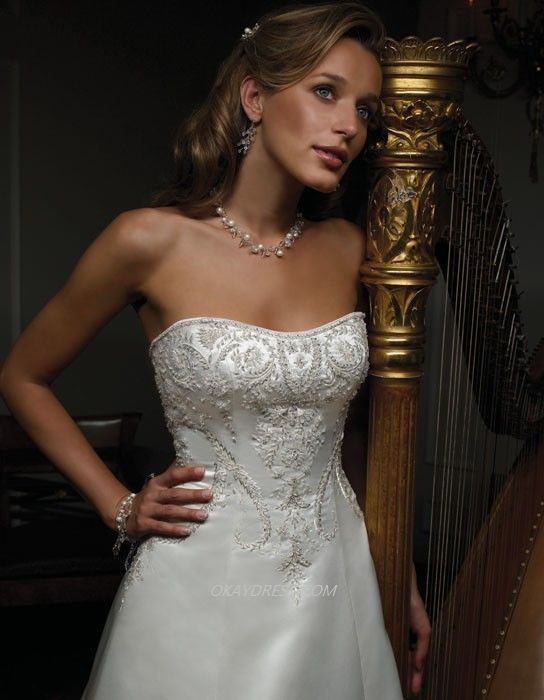 Aline with embellished bodice & modified sweetheart neckline by Casablanca #wedding #bridal #dress #gown