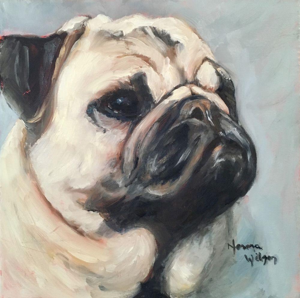 Norma Wilson Original Oil Pet Portrait Pug Dog Canine Animal