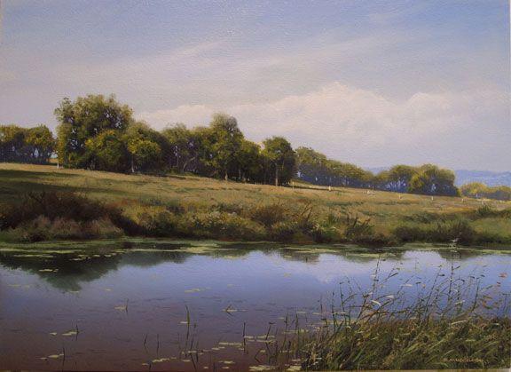 """August Hillside by Renato Muccillo 9"""" x 12"""" Oil on panel"""