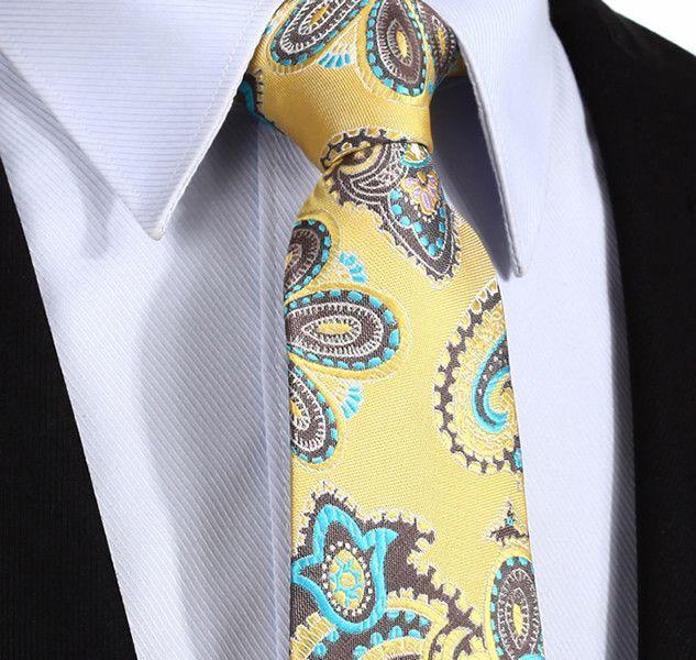 "TP913Y8 Yellow Aqua Paisley 3.4""Silk Wedding Gravata Classic Jacquard Mans Tie Necktie Pocket Square Handkerchief Set Suit"