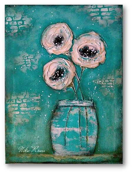 Vase Of Flowers Mixed Media Painting On Canvas Art
