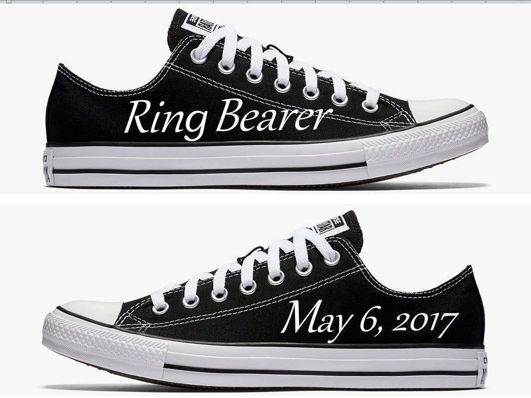4a44d02c313ce Custom Ring Bearer Wedding Converse Black Hand Painted in 2019 ...