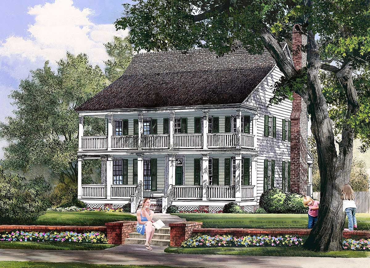 Plan 32613wp Delightful Stacked Porches Colonial House Plans House Plans Farmhouse Southern House Plans