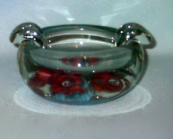 St Clair Ashtray, Hand Blown, Clear Glass, Blue and Pink
