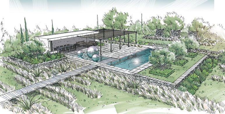 jardin contemporain sur la plaine de la crau pergolas pinterest jardins contemporains. Black Bedroom Furniture Sets. Home Design Ideas