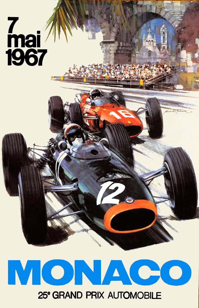 Piece Automobile Prix 1967 Monaco F1 Gp Silodrome Graphic Arts Vintage Design