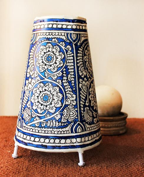 Blue White Floral Leather Lampshades Home Decor Kalamkari Art