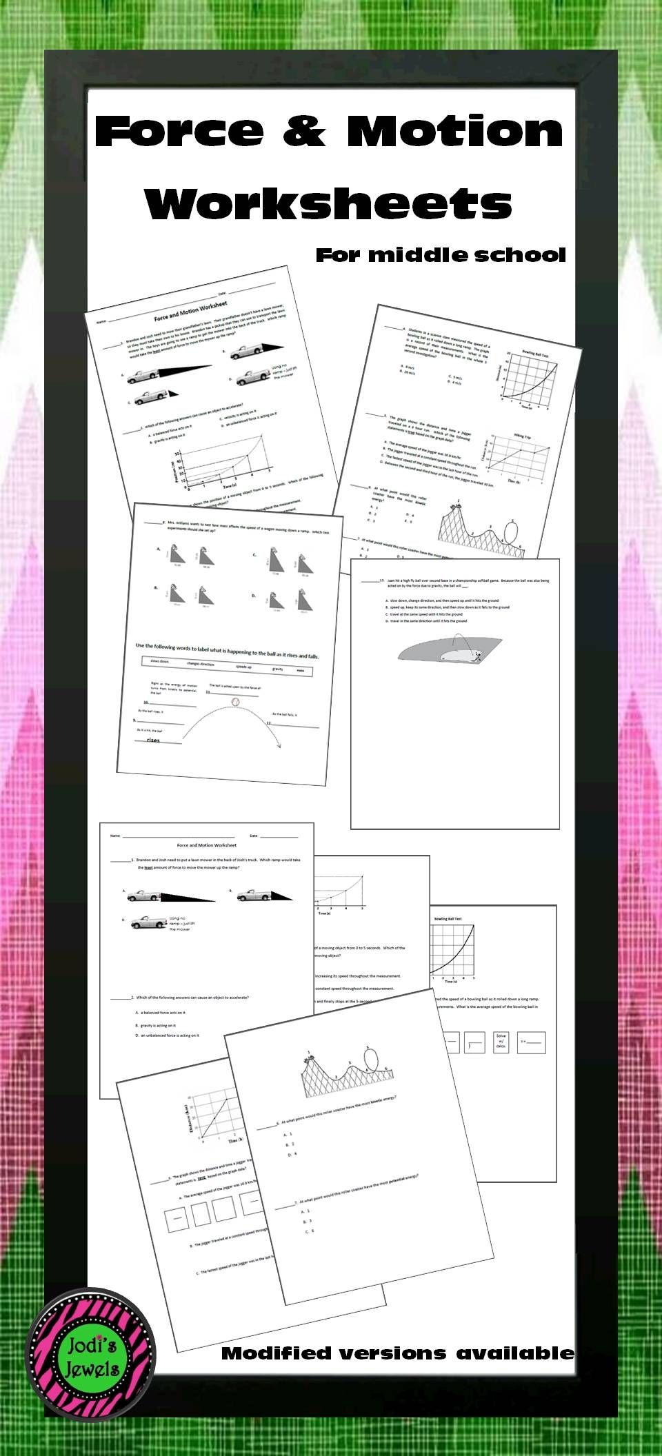 Worksheets Force And Motion Worksheets For 5th Grade force and motion worksheet graphs worksheets students for middle school include interpreting data calculating speed average