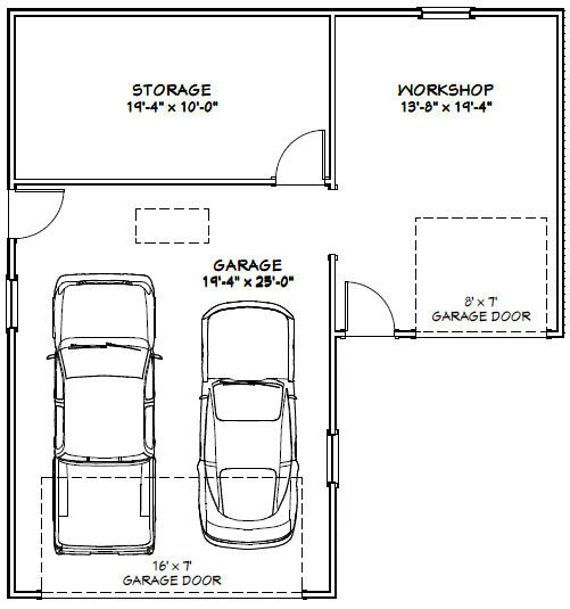 34x36 2 Car Garages 1000 Sq Ft 8ft Walls Pdf Floor Etsy Garage Floor Plans Garage Plans Detached Garage Ceiling Storage
