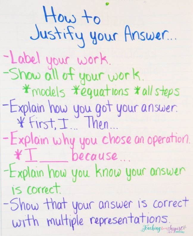 Teaching Students How to Justify Answers in Math | Math anchor ...