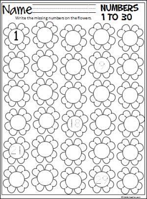 Missing Numbers 1-30 (Three Worksheets) | Printable Worksheets ...