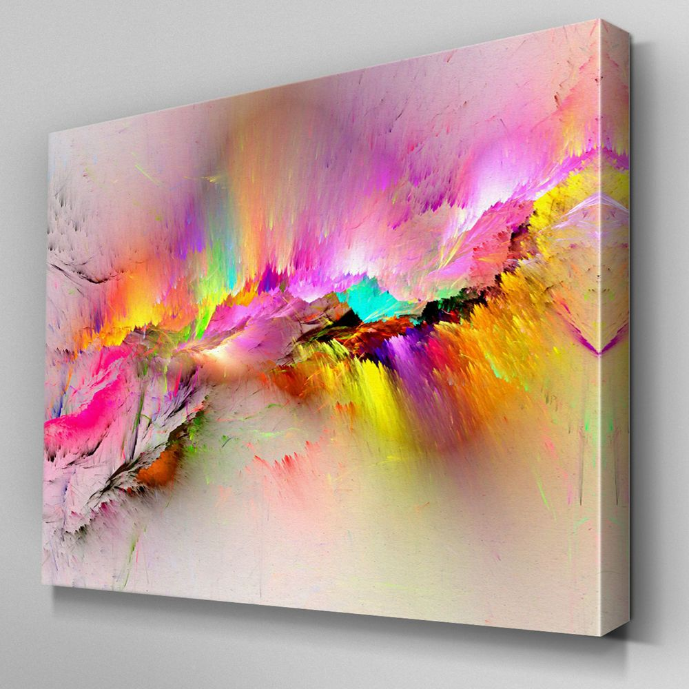 Details Ab970 Modern Pink Yellow Large Canvas Wall