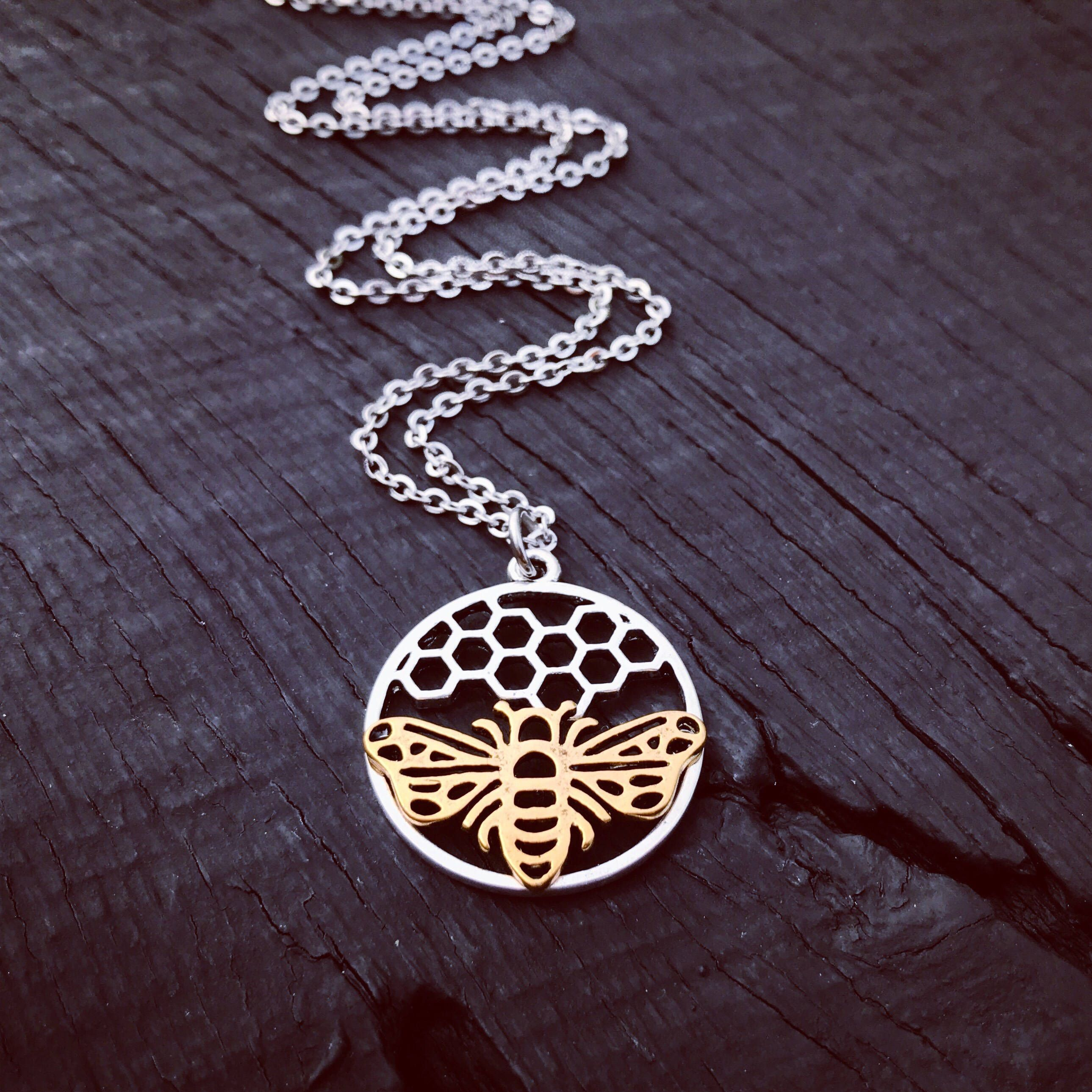 honey necklace product bee pendant original cubic bumblebee honeybee