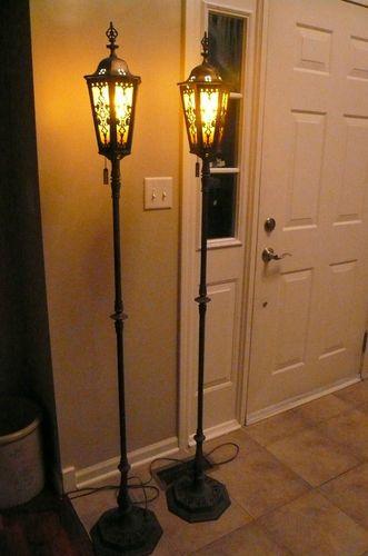 """Pair 1920's Mica Metal Overlay Floor Lamps 68"""" HALLOWEEN ..."""