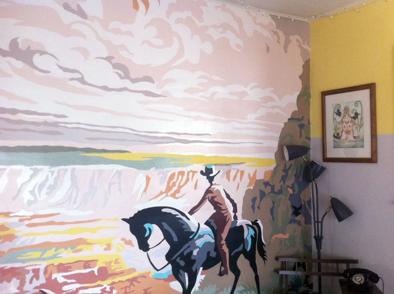 2 This Is The Mural I Painted In My Living Room Vintage Western Paint By Number Boy Room Paint Vintage Painting Mural