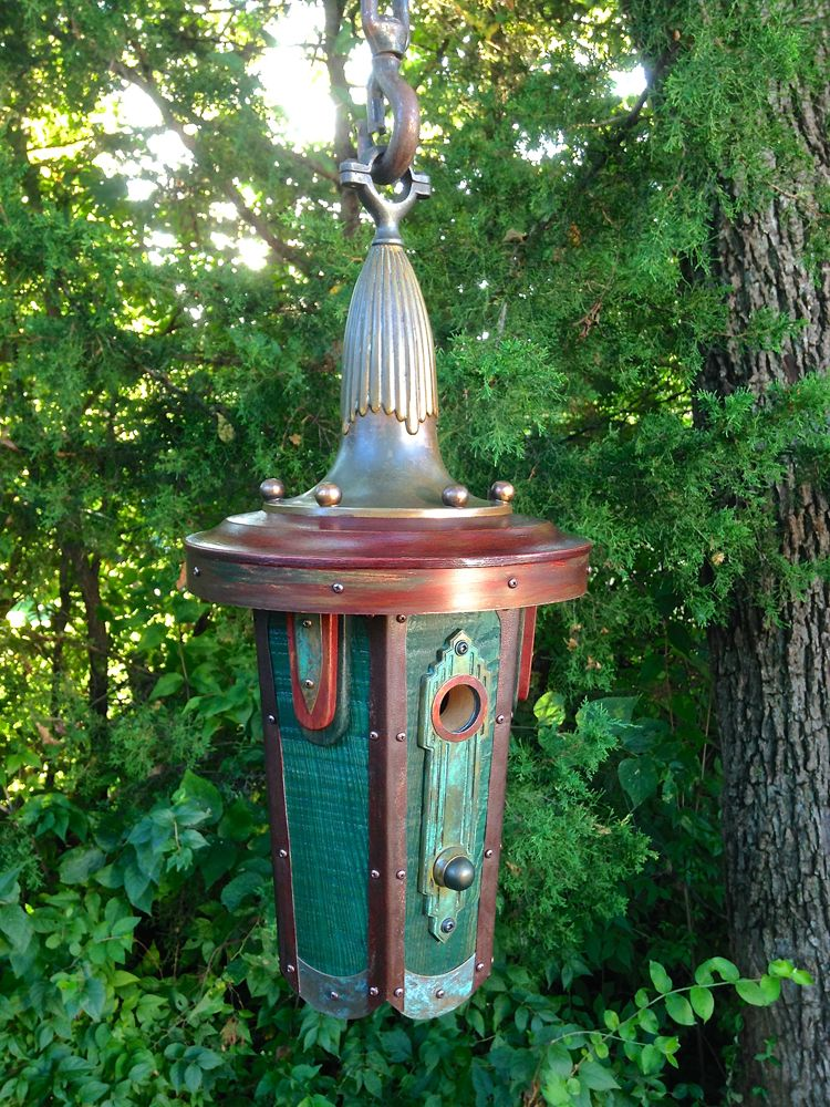 Lamp Deco: Art Deco Style Birdhouse Made from Reclaimed Wood and Metal