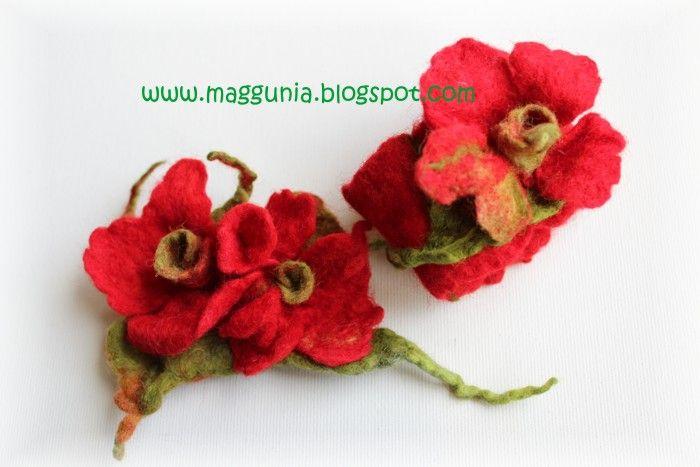 Filcowa Broszka Oraz Bransoletka Wykonane Technika Filcowania Na Mokro Crochet Earrings Crochet Jewelry