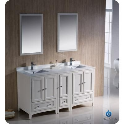 Fresca - Oxford 60 Inch Antique White Traditional Double Sink Bathroom Vanity with Side Cabinet - FVN20-241224AW - Home Depot Canada