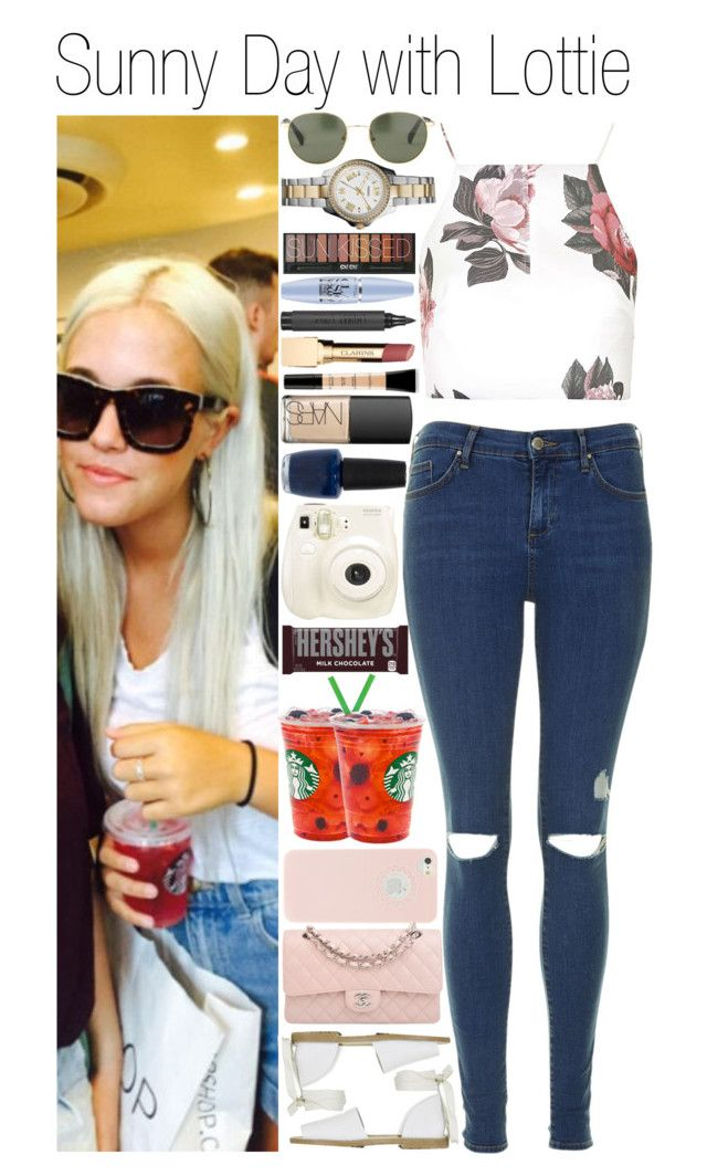 """""""• Sunny Day with Lottie"""" by dianasf ❤ liked on Polyvore featuring Topshop, Chanel, Smashbox, NARS Cosmetics, OPI, FOSSIL, Maybelline, Clarins, Polaroid and Hershey's"""