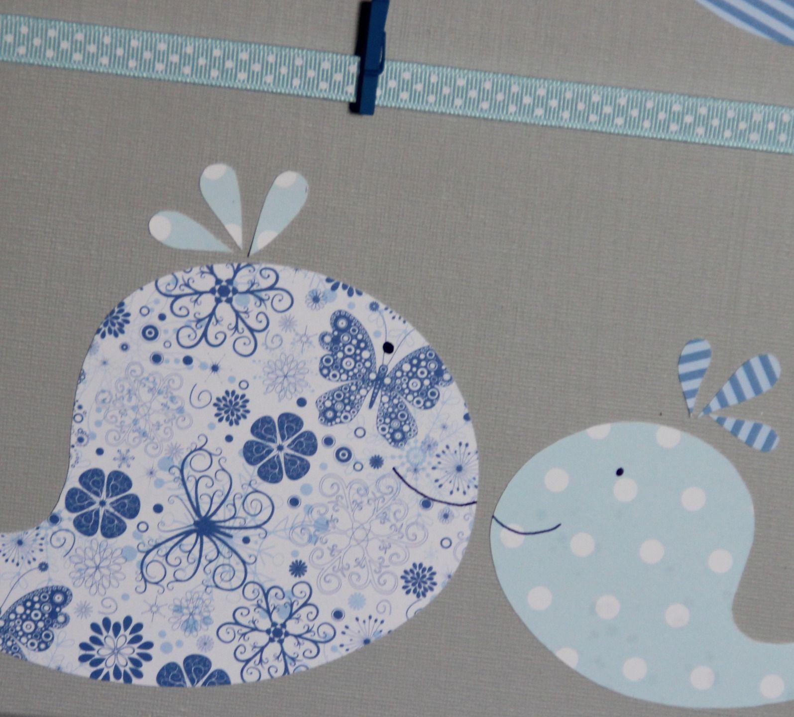 Pªle Mªle BALEINES BLEUES et gris Déco murale chambre enfant