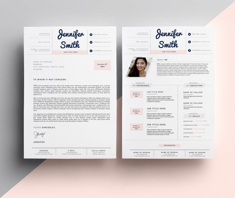 pretty in pastels cover letter template by janna hagan  9 99  resume  coverletter  design  cv