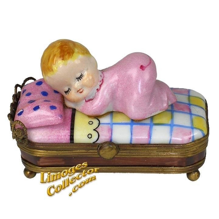 BABY GIRL SLEEPING IN BABY BED LIMOGES BOX