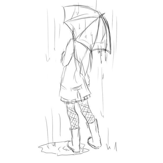 how to draw a girl holding umbrella