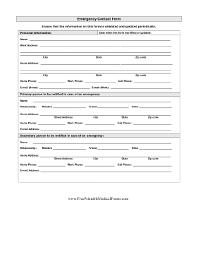 Detailed emergency contact form printable medical form for Incident alert template