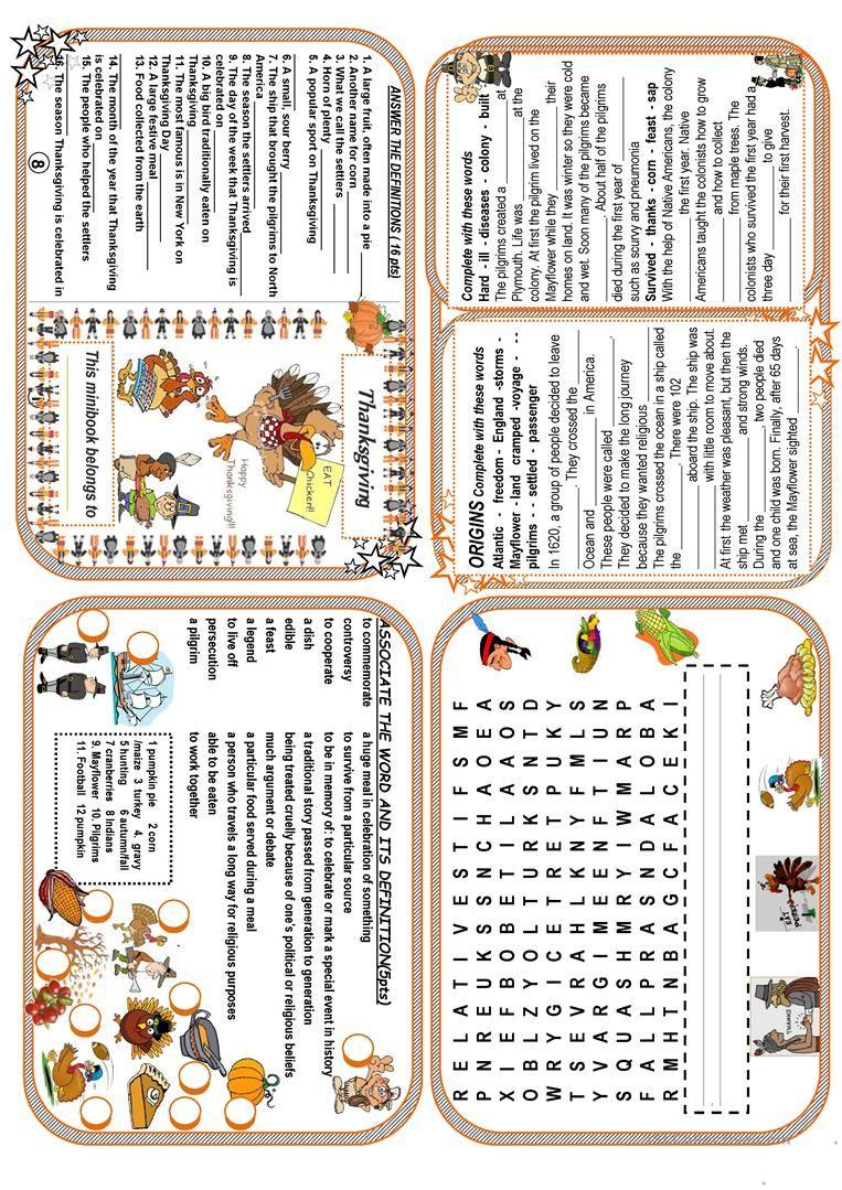 Thanksgiving Minibook Worksheet Free Esl Printable Worksheets Made By Teachers Thanksgiving Worksheets Teaching Thanksgiving Mini Books [ 1079 x 763 Pixel ]