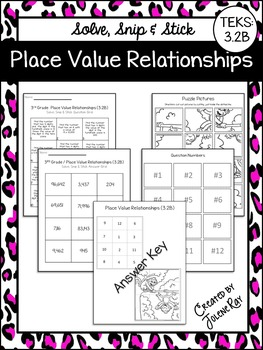 Place Value Relationships Solve Snip Stick Teks 3 2b