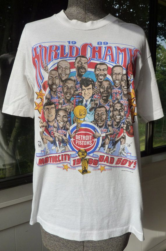 9b0be279b Detroit Pistons 1989 Champs T Shirt by BonniesVintageAttic on Etsy, $44.00