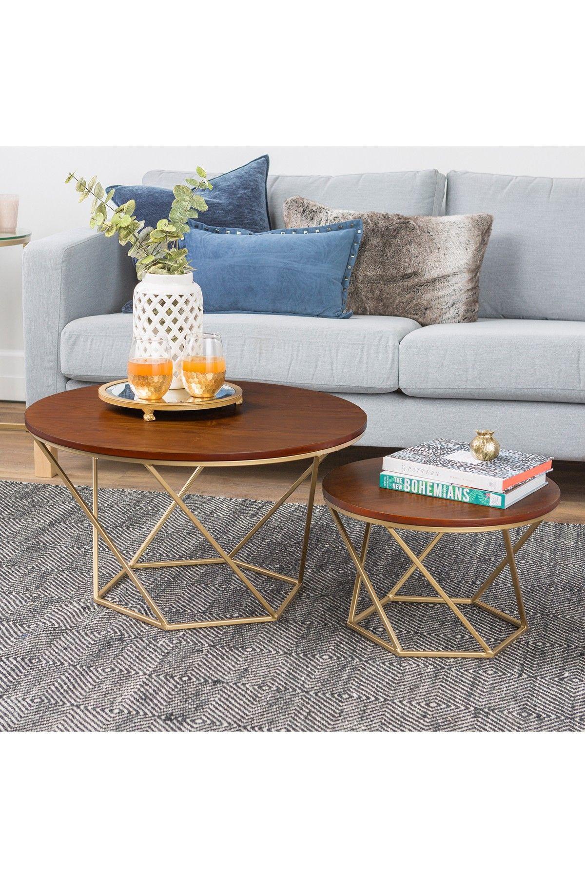 Walker Edison Furniture Company Walnut Gold Geometric Wood Nesting Coffee Tables Set Of 2 Nesting Coffee Tables Coffee Table Walnut Coffee Table [ 1800 x 1200 Pixel ]