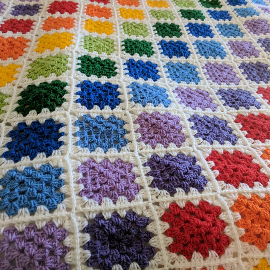 My Rainbow Granny Square Blanket Knitting Bee Instagram Crochet Blanket Rainbow Crochet Granny Square Blanket Color Crochet Granny Square Blanket