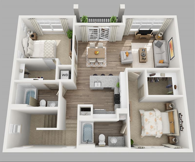20 Designs Ideas For 3d Apartment Or One Storey Three Bedroom Floor Plans Home Design Lover Apartment Floor Plans Floor Plan Design Apartment Furniture Layout