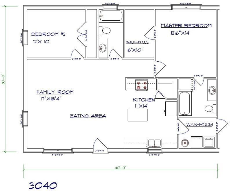 2 Bed 2 Bath Floor Plan 24 X 40 Yahoo Search Results Cabin Floor Plans Loft Floor Plans Metal House Plans