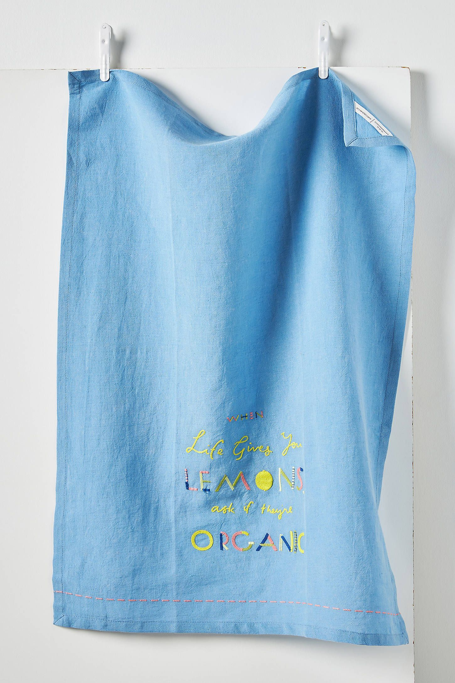 Maricor Maricar When Life Gives You Lemons Dish Towel By In Blue Kitchen At Anthropologie Dish Towels Dish Towels In 2020 How To Dye Fabric Mod Melts Fabric Painting