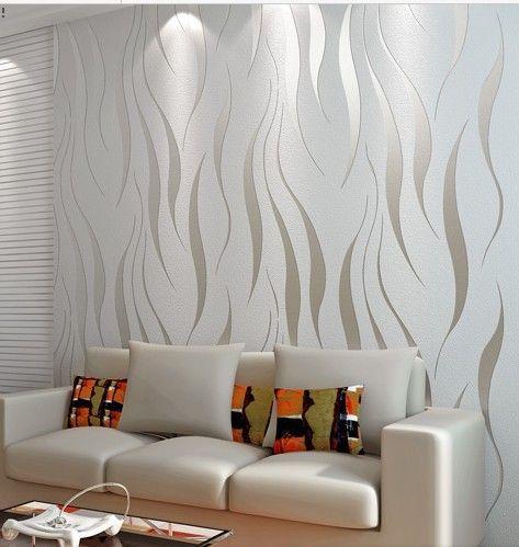 Sala com papel de parede met lico moderno decora o em - Papel pared moderno ...