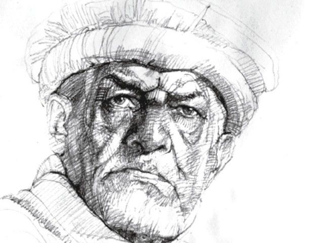 Line Art Portrait : Saeed akhtar self portrait academic drawing