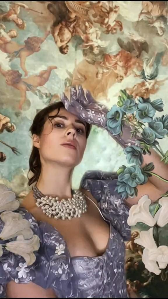 Video Renaissance Painting Tik Tok Challenge Fashion Blue Cinderella Princess Dress Design Di 2021